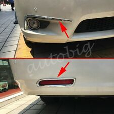 Front+Rear Fog Light Cover For Toyota Sienna 2011-2017 Chrome Bumper Reflector