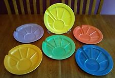 "6 Hoffritz 9 1/2"" Divided Stoneware Fondue Sushi Plates Bright Colors"