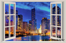 Chicago Night Lights Window View Repositionable Color Wall Sticker Wall Mural