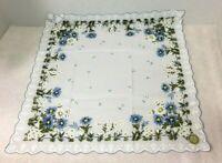 Vintage Hankie Large Blue & White Flowers Scalloped Edge Original Foil Japan Tag