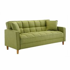 Green Modern Small Space Living Room Sofa Linen Fabric Tufted Couch, 2 Pillows