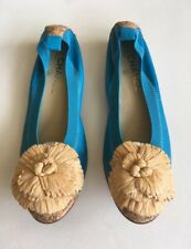 Authentic Chanel Leather Cork Cap Toe Straw Camellia Flower Ballerina Flat Shoes