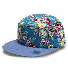 2 TONE TEAL FLORAL DENIM BILL 5 PANEL CAMPER HAT CAP ADJUSTABLE HAWAIIAN FLOWER