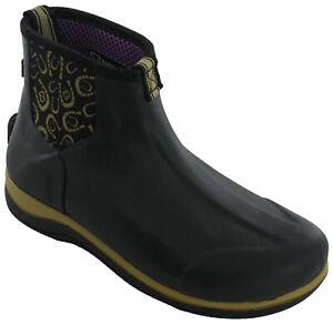 Black Ankle Wellies Womens Short Casual 100% Waterproof Rubber Rain Boots UK4-8