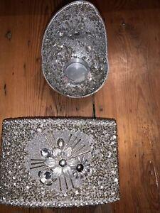 Lovely Silver Sequinned & beaded Trinket Box & matching tealight holder