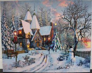 Large LED Fibre Optic Wall Picture Canvas Christmas Tree Snow Snowman 50x40cm