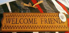 "KIPS-2009 Primitive Wall Sign ""WELCOME FRIENDS""Country Rustic Wood Hanging Decor"