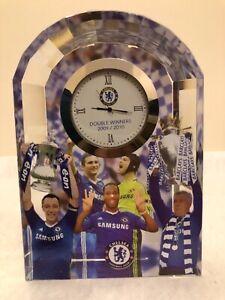 Rare Chelsea fc double winners 2009/2010 crystal glass clock