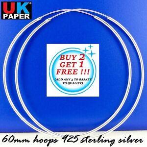 925 Sterling Silver 60mm Large Hoop Sleeper Earrings Clip Solid Rings Pairs Big