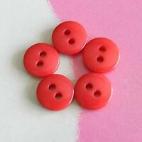 30 Mini Tiny Figure Small Petit Doll Clothes Sew On Buttons 7mm Shiny Red S191