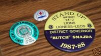 VINTAGE POLITICAL ADVERTISING PINBACK BUTTONS LIONS