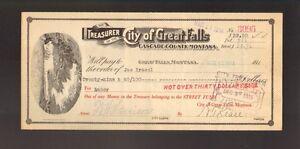 BANK CHECK  City of Great Falls Cascade County Montana dd 1910s