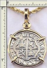 Florida Piece Of Eight Cob Reale Pirate Silver Coin 14K Gold Bezel Dated 1622