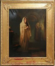 Antique British 19th century painting oil on canvas : Scene of Repentance