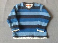 Boys 4 Years - Blue Striped Cotton Knit Jumper with White 'T-Shirt' Inset - BHS