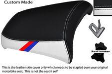 BLACK & WHITE CUSTOM M3 STRIPE FITS BMW R 1200 GS REAR 04-12 LEATHER SEAT COVER
