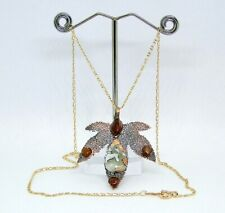 "Maligano Jasper & Citrine Set on Copper Lace Leaf Pendant, 14kt YGF 19.5"" Chain"