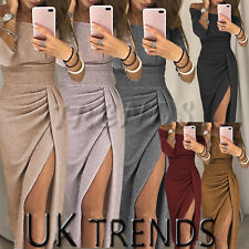 UK Womens Midi Glitter Split One Shoulder Ladies Sequins Dress Party Christmas