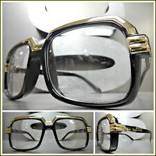 Men's VINTAGE RETRO Hip Hop Rapper Style Clear Lens EYE GLASSES Black Gold Frame
