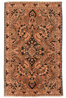 Vintage Oriental Malayer Rug, 4'x7', Coral/Brown, Hand-Knotted Wool Pile