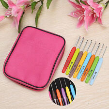 16pcs Colourful Plastic Crochet Hook Knitting Needles Set With Holder Case Bag