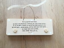 Shabby Personalised Chic Handpainted Plaque Sister Gift From Brother.. Birthday