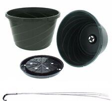 "Hanging Basket, (Qty.5), 12"" W/Wire Hanger, Dillen Euro Swirl, 12"" Green Planter"