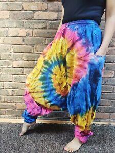 Tyedye rainbow unisex handmade colorful Durable Cotton  comfy trouser.
