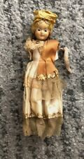 Vintage Original Old Plastic Female Doll With Hair and Gown One Arm Toy