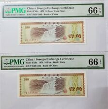 1979 CHINA Foreign Exchange Certificate 10 Fen (1 JIAO) PMG66 EPQ GEM UNC 2Notes