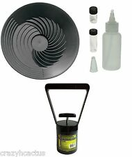 "Turbopan BLACK 10"" Gold Pan/Snuffer/Vials/Black Sand Magnet Panning Prospecting"