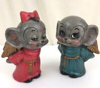 Vintage Ceramic Mice Holiday Angel Figurines Set of 2