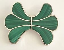 Large Vintage Taxco (950) Silver Malachite Brooch   No Reserve