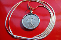 """Real Antique French Coin Pendant Necklace 25mm Franc Bezel on a 30"""" Snake Chain"""