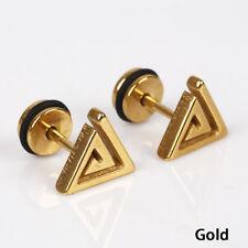 1pc Men Women Hypoallergenic Maze Triangle Titanium Steel Ear Stud Earring