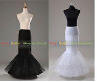 White/Black 1 Hoop Mermaid Wedding Bridal Underskirt Crinoline Petticoat Slips