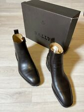 Bally Shoes Mens Brown Calf Leather Zip Up Chelsea Boots EU8 USA9 FR42 NEW