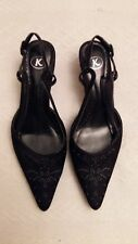 K by CLARKS LADIES BLACK BEADED EVENING SHOES WITH SMALL HEEL--SIZE 4