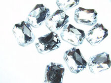 40 Clear Faceted Beads Acrylic Rhinestones/Gems 13x18 mm Oblong Flat Back Sew On