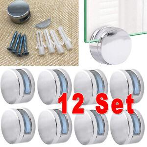 12 Set Spiegelhalter Glashalter 4-6mm Spiegelhalterung Glasklemme Klemmhalter