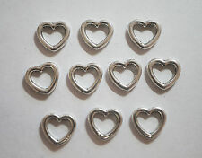10 Metal Antique Silver Open Heart Charms/Connectors - 10mm