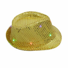 Flashing Light up LED Fedora Trilby Sequin Unisex Fancy Dress Dance Party Hats Yellow