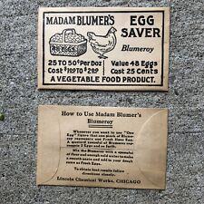 Vintage Madam Blumer's Egg Saver Advertising Farm Chicken Product Paper Envelope