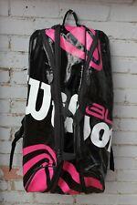 Wilson Large Tennis Racket Sports Bag Pink Black Holds x3 Team Backpack Racquet