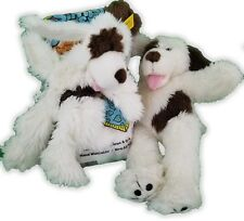 "Lot Of 2 15"" Build A Bear (2) Playful Puppies Dogs White Brown Plush 30-5"