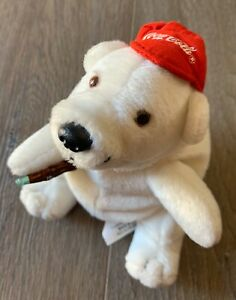 COCA COLA Vintage 1997 Plush Polar Bear Collectable Coke Bottle *Great Con* 16cm