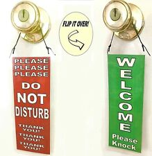 Do Not Disturb & Welcome Double sided hanging sign door hanger knob handle entry