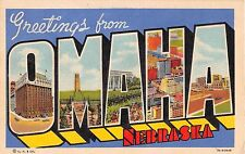 Large Letter Greetings from Omaha Nebraska postcard