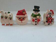 VTG Set of 4 handmade clay Christmas napkin rings. Set #1 A3
