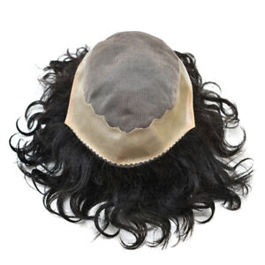 GM 20mm Curly Fine Mono Durable Mens Toupee Black Hair System Hairpiece AAA-1